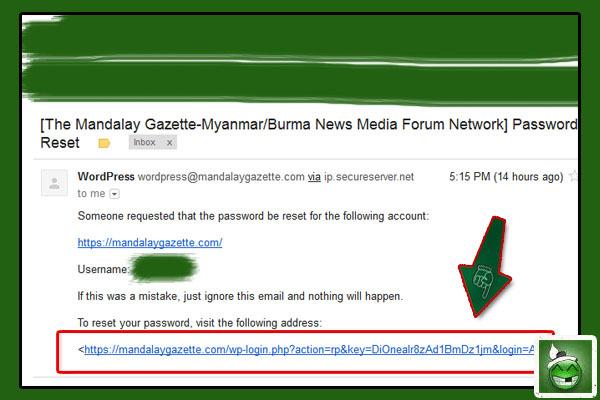 Username မသိသူမ်ား အတြက္ ဒီမွာ Username ပါ ေဖာ္ျပ ေပးမွာ ျဖစ္ပါတယ္။ ကိုယ္က Password ျပန္ေျပာင္းမွာ ဆိုေတာ့ကာ ျမႇားျပထားတဲ့ လင့္ခ္ကို ႏွိပ္လိုက္ပါ။