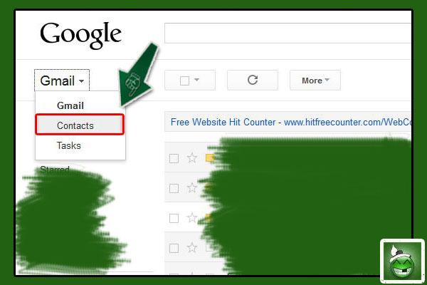 Gmail ကို အရင္ဆံုး Login ဝင္ပါ။ ၿပီးရင္ ဘယ္ဘက္ အေပၚနားမွာ ရွိတဲ့  Gmail  ဆိုတာေလးကို ႏွိပ္လိုက္ပါ။ ၿပီးသြားရင္ ေပၚလာတဲ့ ထဲက Contacts ကို ႏွိပ္လိုက္ပါ။