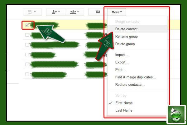 အကယ္၍မ်ား Group Mail ထဲက မလိုအပ္ေတာ့တဲ့ လူမ်ားကို ျပန္ဖ်က္ပစ္ခ်င္တယ္ ဆိုရင္ေတာ့ Group Mail ကို သြား၊ အဲ့ဒီထဲကမွ ကိုယ္ ဖ်က္ခ်င္တဲ့ ေမးလ္လိပ္စာကို ေခါက္ကေလး ျခစ္၊ ၿပီးရင္ More ထဲကေနၿပီး Delete Contact ကိုသာ ႏွိပ္လိုက္ပါ။